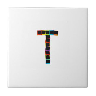Alphabet T with colorful polaroids Tile
