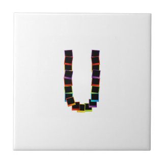 Alphabet U with colorful polaroids Ceramic Tiles