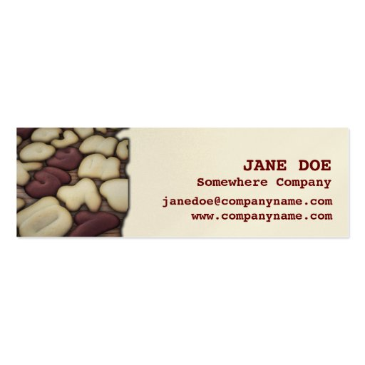 Alphabet Vanilla and Chocolate Cookies Biscuits Business Card Templates