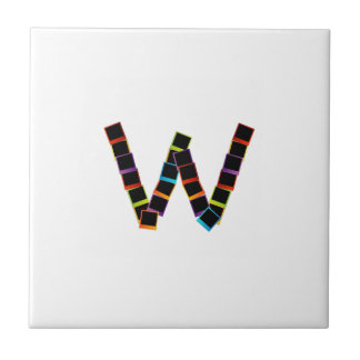 Alphabet W with colorful polaroids Ceramic Tile