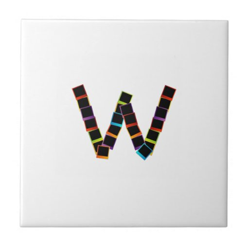 Alphabet W with colorful polaroids Ceramic Tile