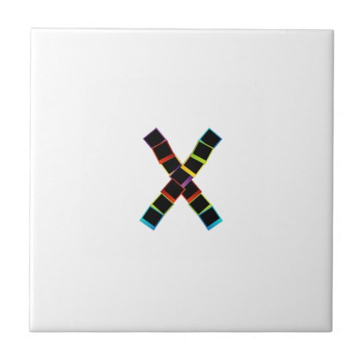 Alphabet X with colorful polaroids Tile