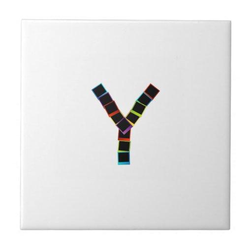Alphabet Y with colorful polaroids Tile