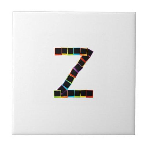 Alphabet Z with colorful polaroids Tiles
