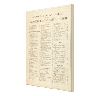 Alphabetical List of Maps and Charts Canvas Print