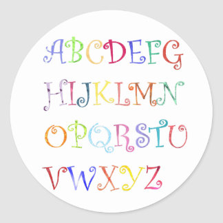 Alphabets in color stickers