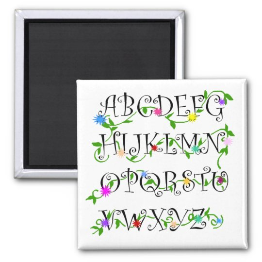 Alphabets with flowers magnet