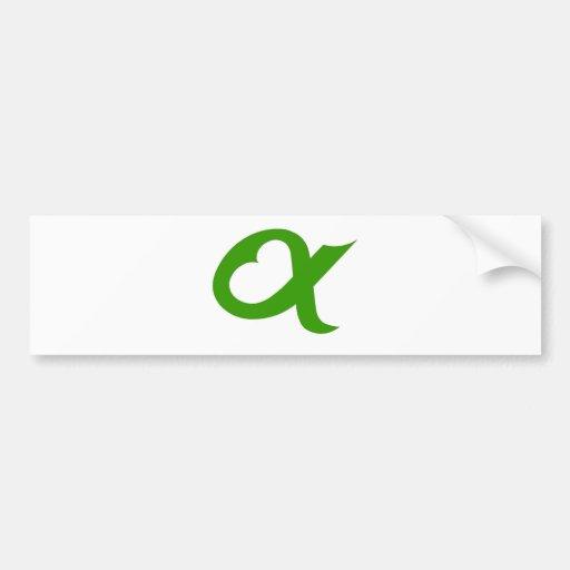 Alpheart green bumper stickers