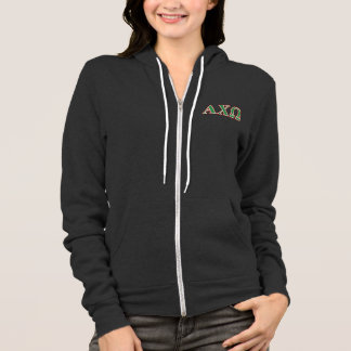 Alphi Chi Omega Green and Red Letters Hoodie