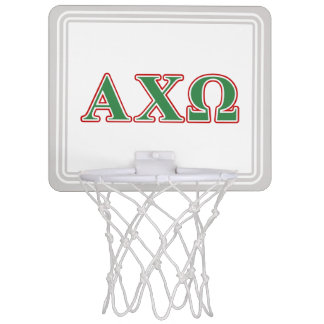 Alphi Chi Omega Green and Red Letters Mini Basketball Hoop