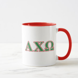Alphi Chi Omega Green and Red Letters Mug