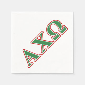 Alphi Chi Omega Green and Red Letters Paper Napkin