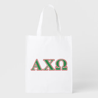 Alphi Chi Omega Green and Red Letters Reusable Grocery Bag