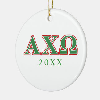 Alphi Chi Omega Green and Red Letters Round Ceramic Decoration