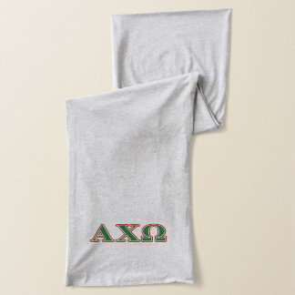 Alphi Chi Omega Green and Red Letters Scarf