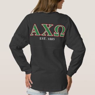 Alphi Chi Omega Green and Red Letters Spirit Jersey