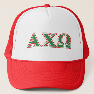 Alphi Chi Omega Green and Red Letters Trucker Hat