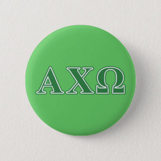 Alphi Chi Omega Green Letters 6 Cm Round Badge