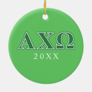 Alphi Chi Omega Green Letters Christmas Ornament