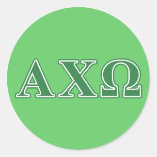 Alphi Chi Omega Green Letters Classic Round Sticker
