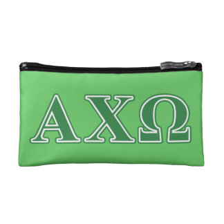 Alphi Chi Omega Green Letters Cosmetic Bag