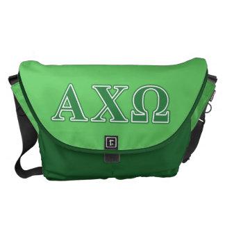Alphi Chi Omega Green Letters Courier Bag