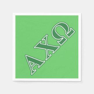 Alphi Chi Omega Green Letters Disposable Napkin
