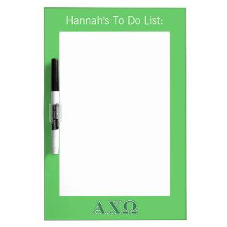 Alphi Chi Omega Green Letters Dry Erase Board
