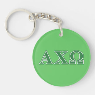 Alphi Chi Omega Green Letters Key Ring