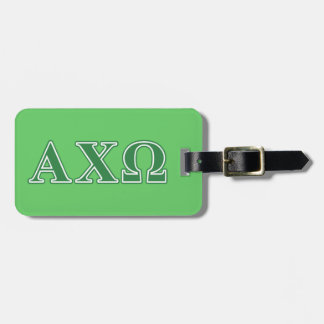 Alphi Chi Omega Green Letters Luggage Tag