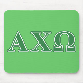 Alphi Chi Omega Green Letters Mouse Mat