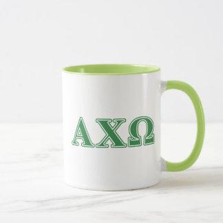 Alphi Chi Omega Green Letters Mug