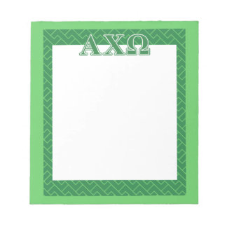 Alphi Chi Omega Green Letters Notepad