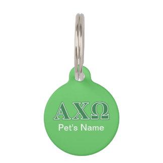 Alphi Chi Omega Green Letters Pet Name Tag
