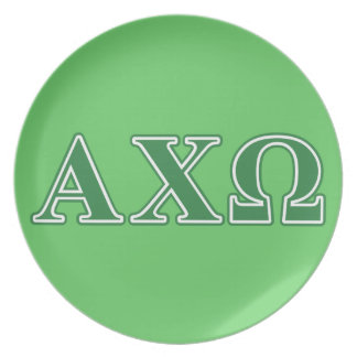 Alphi Chi Omega Green Letters Plate