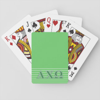 Alphi Chi Omega Green Letters Playing Cards