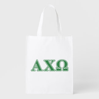 Alphi Chi Omega Green Letters Reusable Grocery Bag