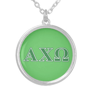 Alphi Chi Omega Green Letters Silver Plated Necklace
