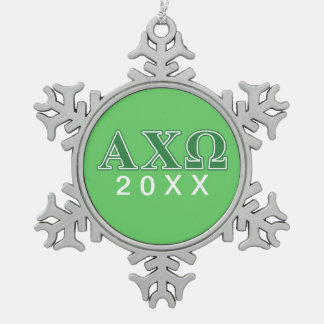 Alphi Chi Omega Green Letters Snowflake Pewter Christmas Ornament