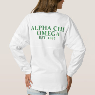 Alphi Chi Omega Green Letters Spirit Jersey
