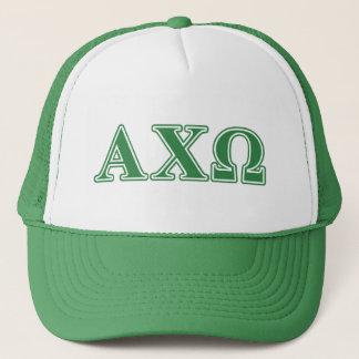 Alphi Chi Omega Green Letters Trucker Hat