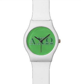 Alphi Chi Omega Green Letters Watch