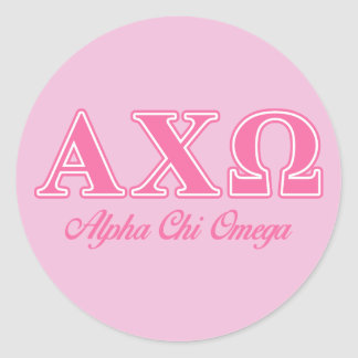Alphi Chi Omega Pink Letters Classic Round Sticker