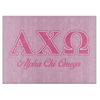 Alphi Chi Omega Pink Letters Cutting Board