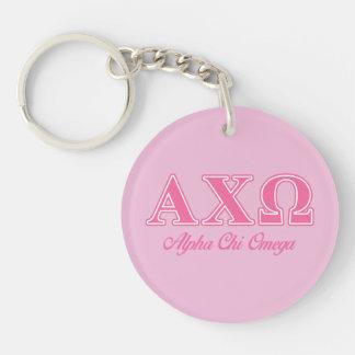 Alphi Chi Omega Pink Letters Key Ring