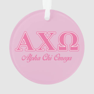 Alphi Chi Omega Pink Letters Ornament