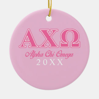 Alphi Chi Omega Pink Letters Round Ceramic Decoration