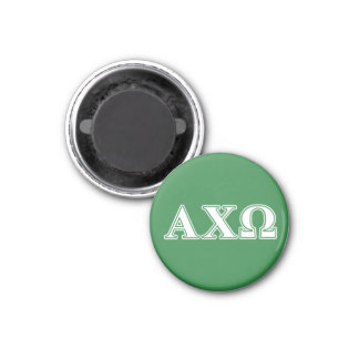 Alphi Chi Omega White and Green Letters 3 Cm Round Magnet