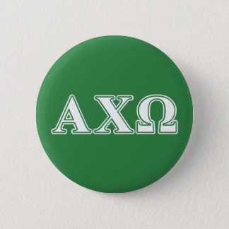 Alphi Chi Omega White and Green Letters 6 Cm Round Badge