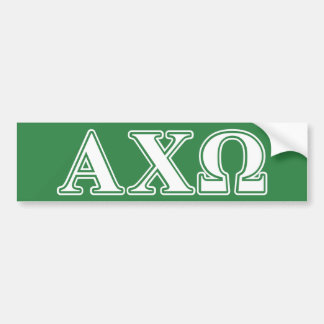 Alphi Chi Omega White and Green Letters Bumper Sticker